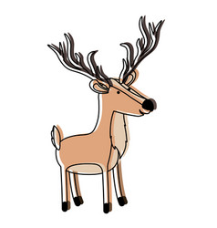 Deer cartoon with long horns colorful silhouette vector