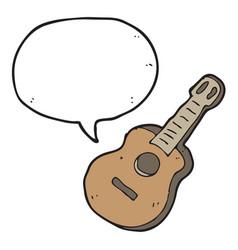 digitally drawn guitar and speech bubble design vector image