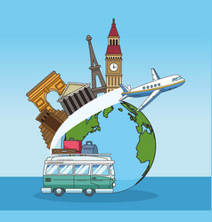 Earth planet with iconic world monuments vector