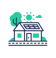 eco house - modern single line icon vector image