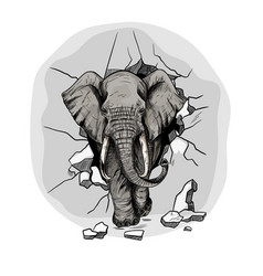 Elephant crushing wall and walking through it vector