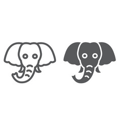 elephant line and glyph icon animal and zoo vector image