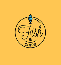 Fish and chips logo round linear logo vector