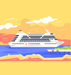 Flat cruise ship for sea travel and passenger vector