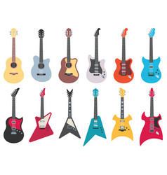 flat guitars electric rock guitar acoustic jazz vector image