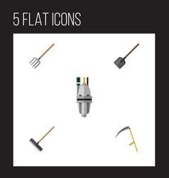 Flat icon farm set of cutter harrow shovel and vector
