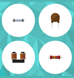 flat icon technology set of resistor coil copper vector image