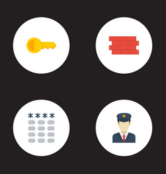 Flat icons clue brick wall keypad and other vector