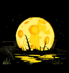 Full moon in night swamp mystical background vector