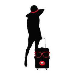 girl sensual with travel bag woman face vector image