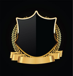 gold and black shield with gold laurels 04 vector image