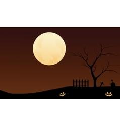 Halloween pumpkins and big moon backgrounds vector