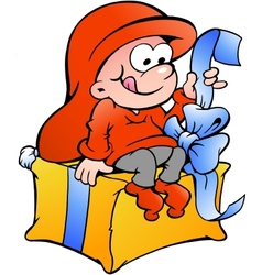 Hand-drawn of elf sitting on a gift vector