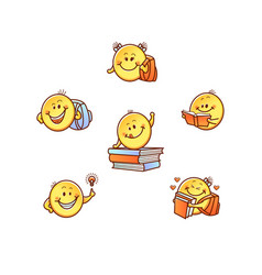 hand drawn students kids smiles face emoji vector image
