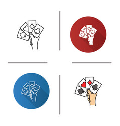 hand holding four aces icon vector image