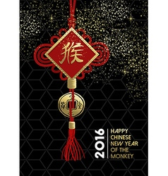 Happy chinese new year monkey traditional sign vector image