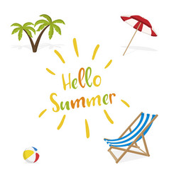 hello summer deck chair ball palm vector image