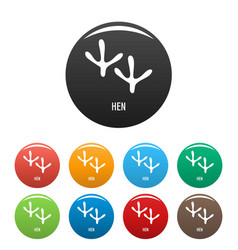 hen step icons set color vector image