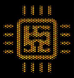 hexagon halftone cpu circuit icon vector image