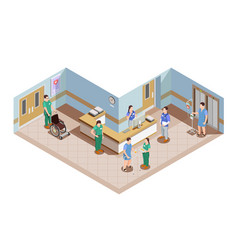 Hospital lobby isometric composition vector