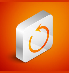 Isometric refresh icon isolated on orange vector