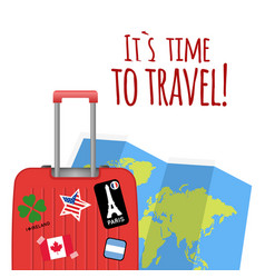 its time to travel baggage map background i vector image