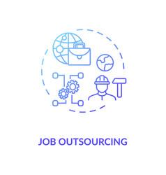 Job outsourcing blue gradient concept icon vector