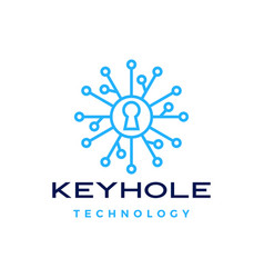 key hole security technology digital logo icon vector image