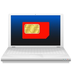 Laptop with sim card vector image
