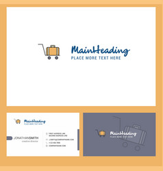 Luggage cart logo design with tagline front and vector