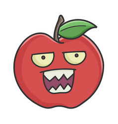 mad angry red apple cartoon apple vector image