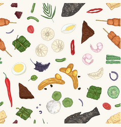 Malaysian cuisine hand drawn seamless vector