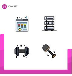 Mobile interface filledline flat color set 4 vector