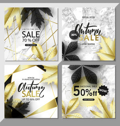 modern geometric social media banners with golden vector image
