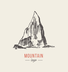 Mountain logo style hand drawn vector
