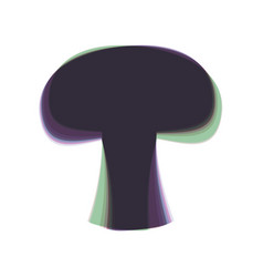 Mushroom simple sign colorful icon shaked vector