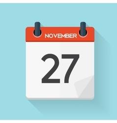 Navember 27 Calendar Flat Daily Icon vector image
