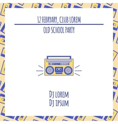 Old school dance party poster in retro design vector image