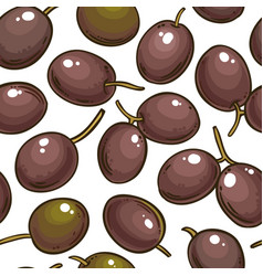 Olive fruit pattern on white background vector
