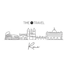 one continuous line drawing rome city skyline vector image