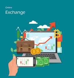 Online exchange flat style design vector