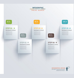 Paper square timeline infographic vector