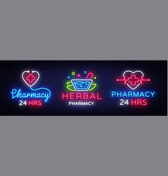 pharmacy neon sign collection herbal vector image
