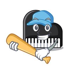 playing baseball piano character cartoon style vector image