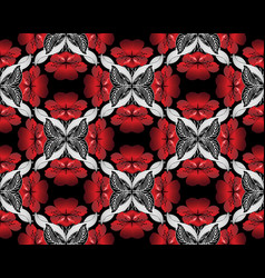 red 3d flowers seamless pattern modern vector image