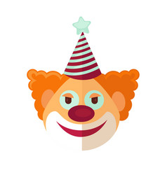 Red clown from circus drawn icon cartoon style on vector