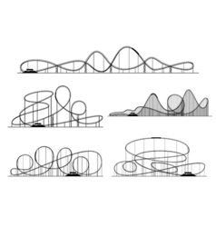 Roller coaster silhouettes Rollercoaster or vector