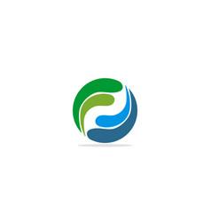 round circle wave eco logo vector image