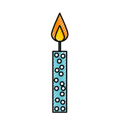 Scribble cute birthday candle cartoon vector