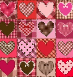Seamless pattern of fancy heart patchworks vector image